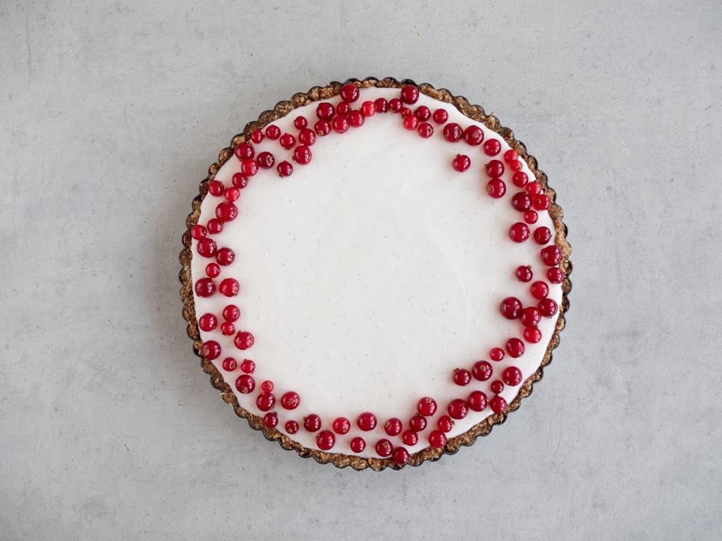 Masa jogurtowo-kokosowa wyłożona na warstwę porzeczkową, pokryta czerwonymi porzeczkami