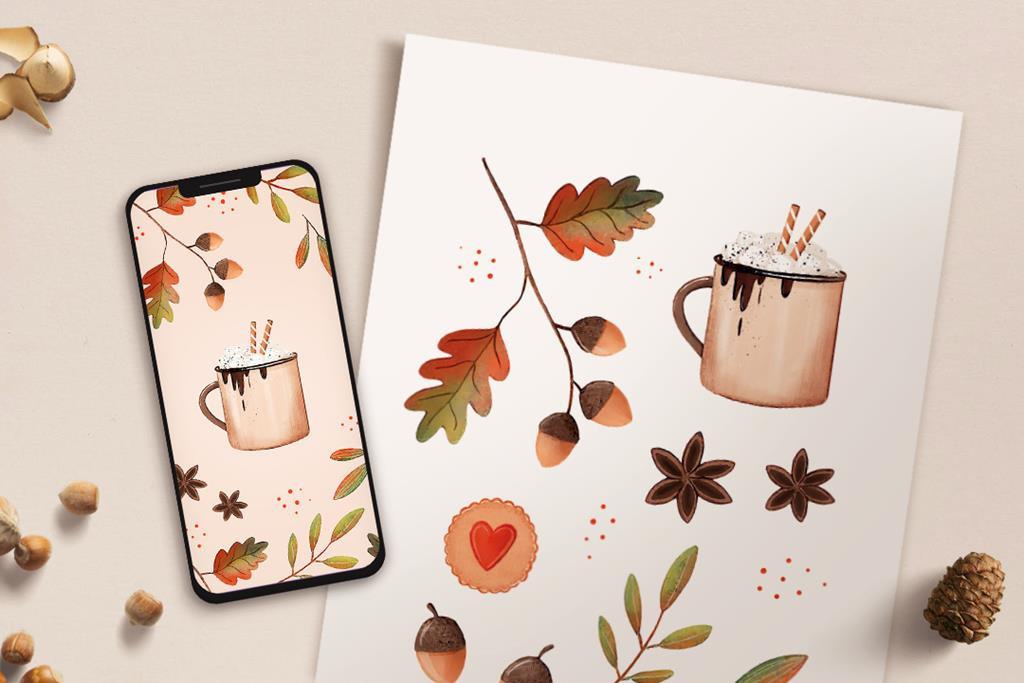 plakat oraz tapeta na telefon z motywem jesiennym